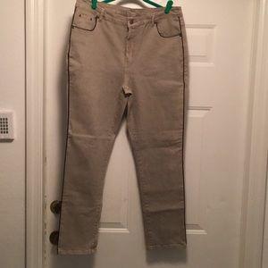 Diane Gilman jeans (taupe w/black trim)